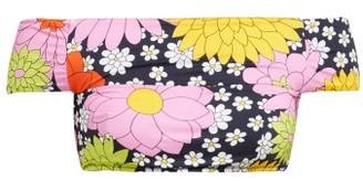 Dodo Bar Or Ceccile Floral Print Off The Shoulder Bikini Top - Womens - Navy Multi
