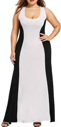 Muranba Plus Size Party Dress, Women Patchwork Criss Cross Black Sleeveless Plus Size Evening Party Dress (,L)