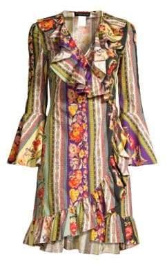 Etro Ruffled Floral Faux Wrap Dress