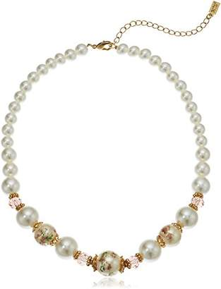 1928 Jewelry Womens Gold Tone Flower Decal Pearls w Graduated Pearl Strand Necklace