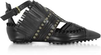 Carven Black Fringed Leather Flat Ballerinas