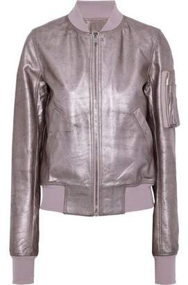 Rick Owens Flight Metallic Textured-Leather Bomber Jacket