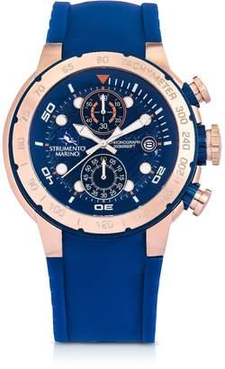 Saint Tropez Strumento Marino Saint-Tropez Rose Gold PVD Stainless Steel Men's Chronograph Watch w/Blue Silicone Band