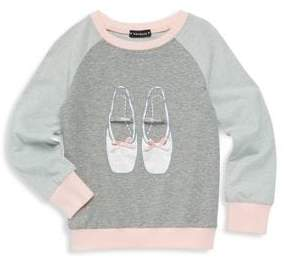 Kate Mack Little Girl's Ballet Shoe Sweatshirt