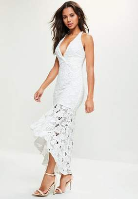 Missguided White Lace Fishtail Maxi Dress