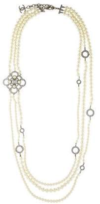 Chanel Faux Pearl & Strass Multistrand Necklace silver Chanel Faux Pearl & Strass Multistrand Necklace