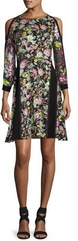 3.1 Phillip Lim 3.1 Phillip Lim Cold-Shoulder Floral Silk Dress, Multicolor