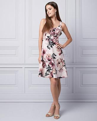 Le Château Floral Print Scuba Knit Scoop Neck Dress