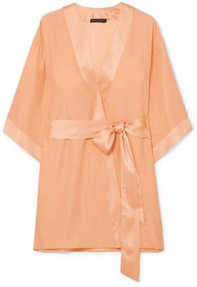 Kiki de Montparnasse Charmeuse-trimmed Washed-silk Robe