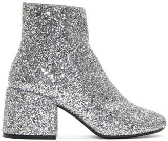 Maison Margiela Silver Glitter Block Heel Boots