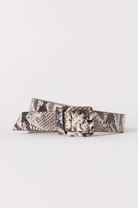 H&M Snakeskin-patterned Belt - Beige