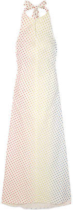 Rosie Assoulin Polka-dot Flocked Stretch Cotton-poplin Halterneck Maxi Dress - White