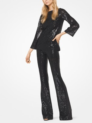 Michael Kors Sequined Stretch-Tulle Flared Pants