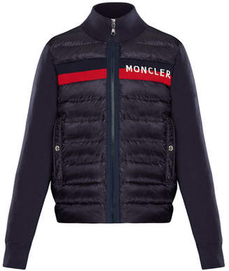 Moncler Quilted Zip-Front Jacket w/ Knit Trim, Size 8-14