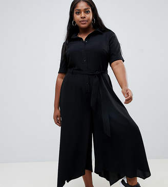 Asos DESIGN Curve shirt jumpsuit with hanky hem and belt detail