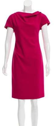 Armani Collezioni Virgin Wool Knee-Length Dress Magenta Virgin Wool Knee-Length Dress