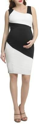 Kimi and Kai Nessa Abstract Colorblock Body-Con Dress