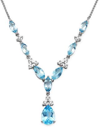 FINE JEWELRY 1/10 CT. T.W. Diamond and Lab-Created Blue Topaz 10K White Gold Drop Necklace