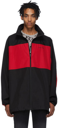 Balenciaga Black and Red Poplin Zip-Up Jacket