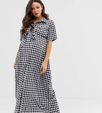 ea44c055710 Glamorous Bloom midaxi shirt dress with tie waist in gingham