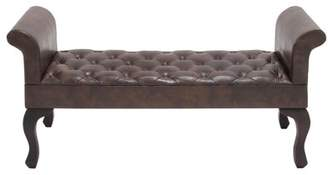 "DecMode 53"" x 25"" Tufted Brown Faux Leather Upholstered Bench Seat with Rolled Arms Silhouette"