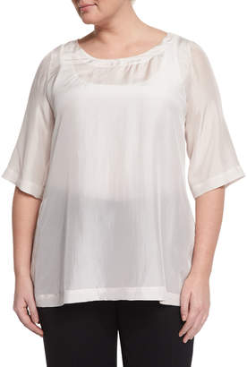 Marina Rinaldi Beat 3/4-Sleeve Japonette Silk Top, Plus Size