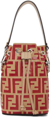 Fendi Red and Beige Forever Mini Mon Tresor Bag