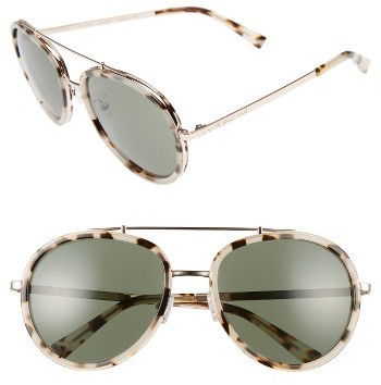Women's Kendall + Kylie Jules 58Mm Aviator Sunglasses - Crystal Black/ White/ Gold