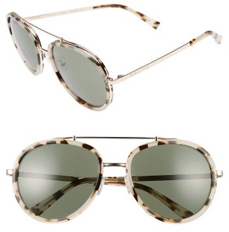 Women's Kendall + Kylie Jules 58Mm Aviator Sunglasses - Crystal Black/ White/ Gold $170 thestylecure.com