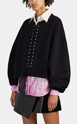 Taverniti So Ben Unravel Project Women's Lace-Up Cotton Terry Crop Sweatshirt - Black
