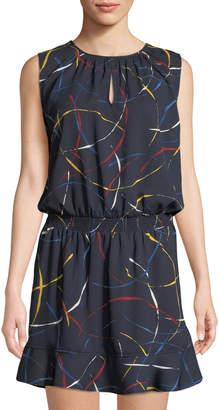 Joie Zealana Split-Neck Sleeveless Mini Dress, Blue