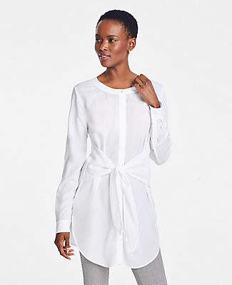 Ann Taylor Tie Waist Button Down Tunic