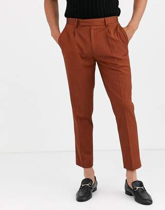 Asos Design DESIGN slim crop smart trousers in terracotta