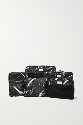 CalPak Set Of 5 Marbled Canvas And Mesh Packing Cubes - Black