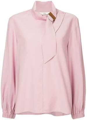 Tibi asymmetric tie collar blouse