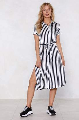 Nasty Gal Womens I'Ll Get Stripe On It Shirt Dress - White - 6, White