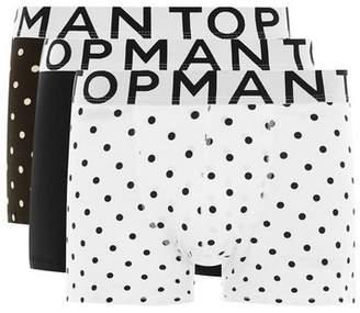 Topman Mens Multi Black and White Polka Dot Trunks 3 Pack*