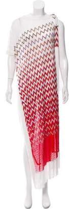 Missoni Mare On-Shoulder Chevron Fringe Dress