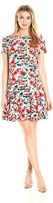 Lark & Ro Women's Short Sleeve Ruffle Hem Dress