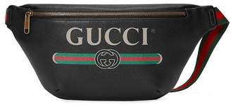 Gucci black Print leather belt bag