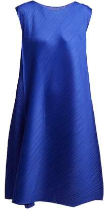 Pleats Please Issey Miyake Pleated Sleeveless Midi Dress - Womens - Blue