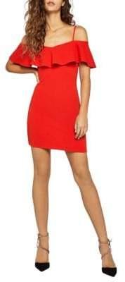 BCBGeneration Cold-Shoulder Overlay Mini Dress