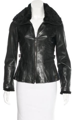 Andrew Marc Fur-Trimmed Leather Jacket $350 thestylecure.com