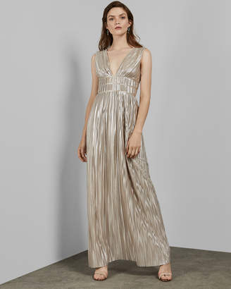 Ted Baker ALECCIA Pleated V neck maxi dress