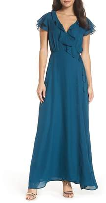 WAYF The Evaline Flutter Ruffle Wrap Gown