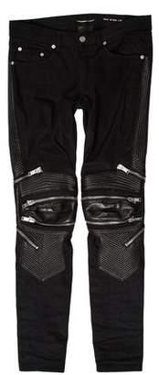 Saint Laurent D04 Leather-Trimmed Biker Jeans