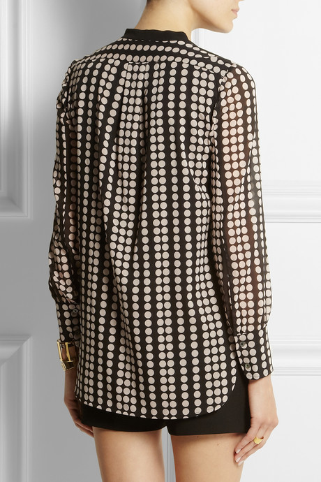 Tory Burch Tammy polka-dot stretch-silk georgette top