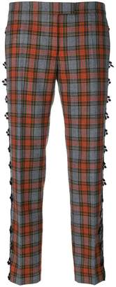 Marco De Vincenzo plaid print trousers with appliqués