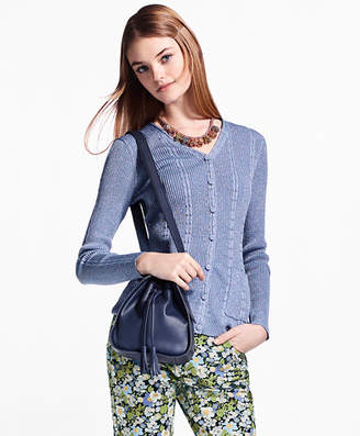 Brooks Brothers Cable-Rib Shimmer-Knit Cardigan