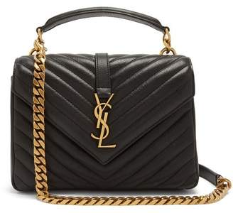 Saint Laurent College Medium Quilted Leather Shoulder Bag - Womens - Black